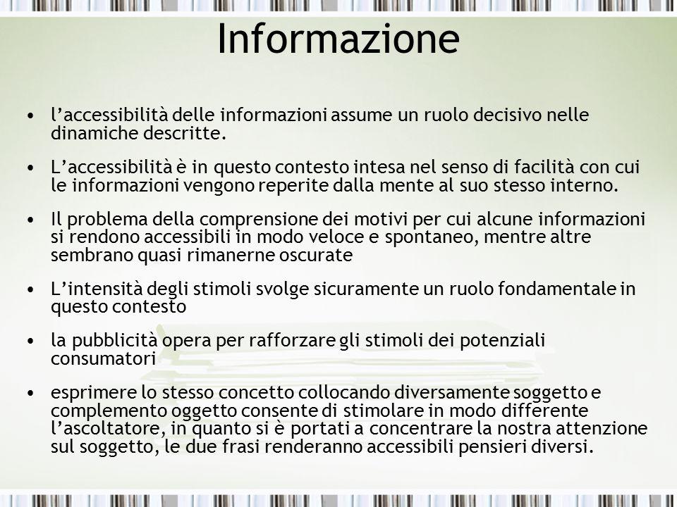 Informazione l'accessibilità delle informazioni assume un ruolo decisivo nelle dinamiche descritte. L'accessibilità è in questo contesto intesa nel se