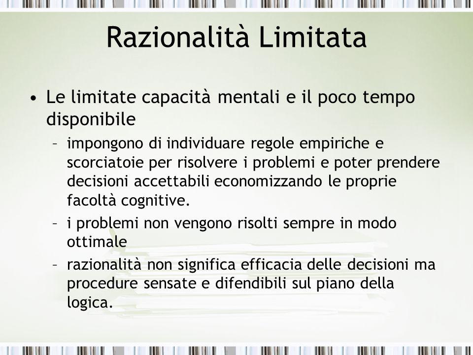 Razionalità Limitata Le limitate capacità mentali e il poco tempo disponibile –impongono di individuare regole empiriche e scorciatoie per risolvere i