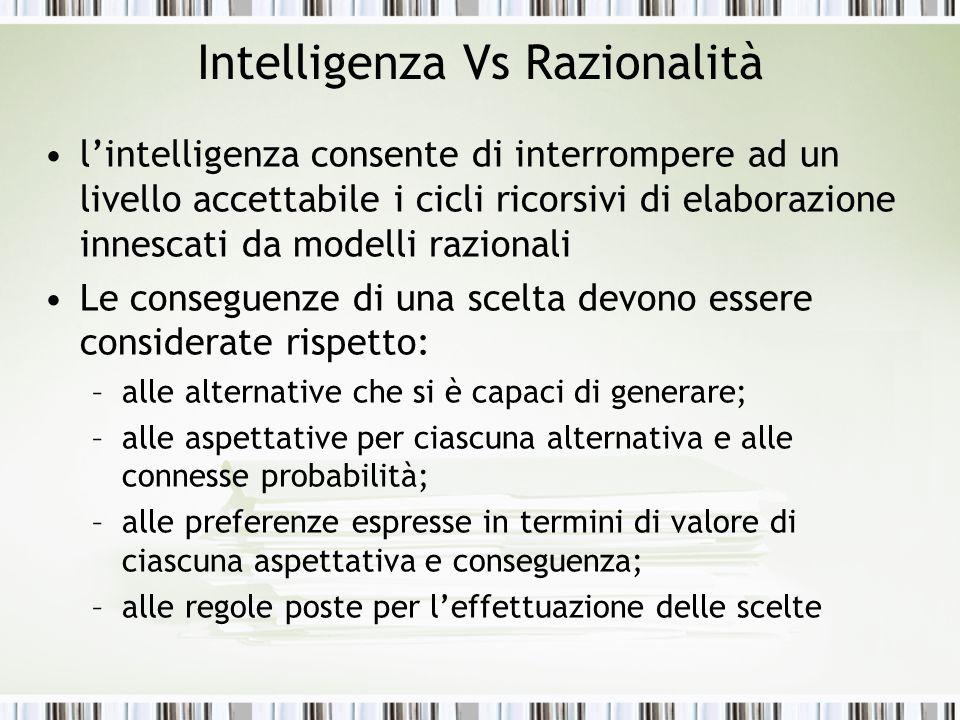 Intelligenza Vs Razionalità l'intelligenza consente di interrompere ad un livello accettabile i cicli ricorsivi di elaborazione innescati da modelli r