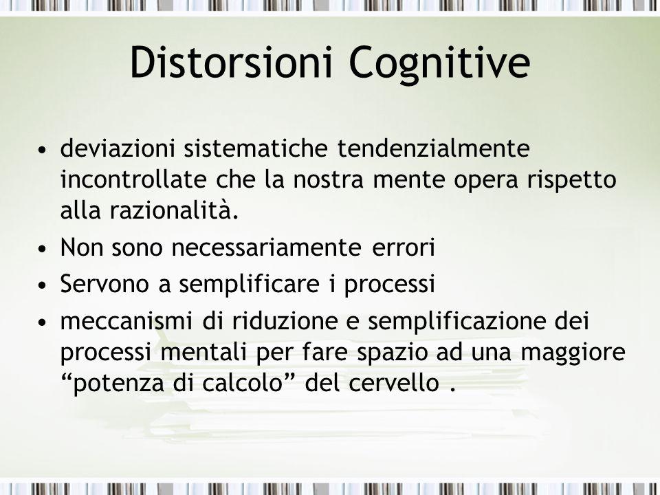 Distorsioni Cognitive deviazioni sistematiche tendenzialmente incontrollate che la nostra mente opera rispetto alla razionalità. Non sono necessariame