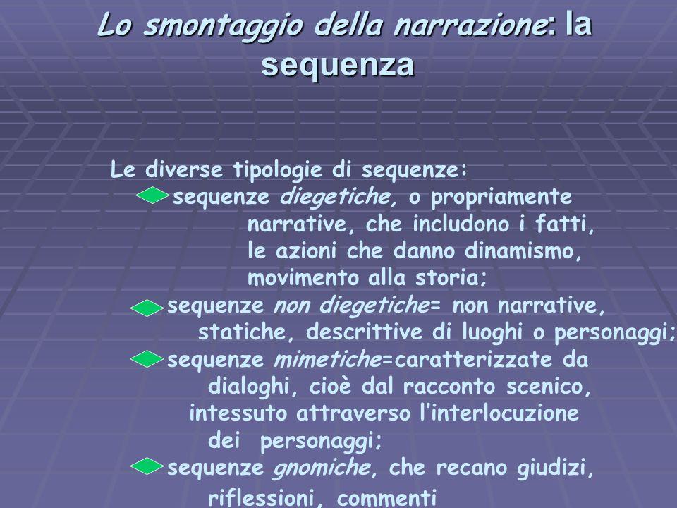 Lo smontaggio della narrazione : la sequenza Lo smontaggio della narrazione : la sequenza Le diverse tipologie di sequenze: sequenze diegetiche, o pro