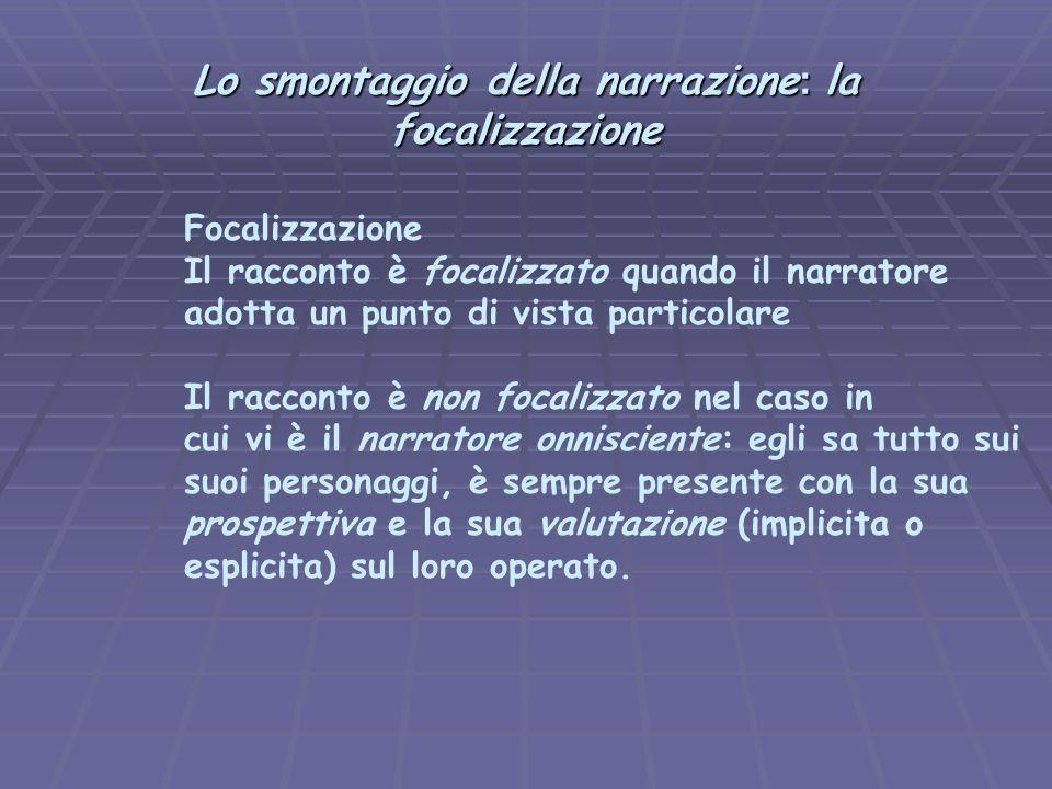 Lo smontaggio della narrazione : la focalizzazione Focalizzazione Il racconto è focalizzato quando il narratore adotta un punto di vista particolare I