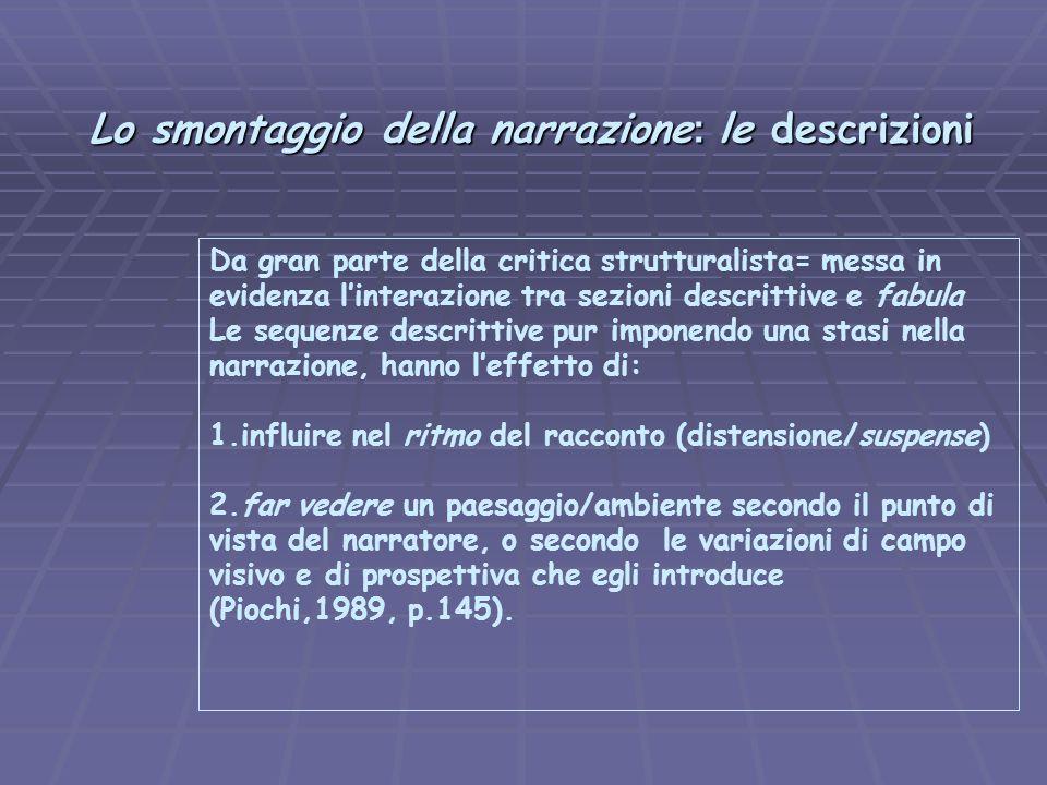Lo smontaggio della narrazione : le descrizioni Lo smontaggio della narrazione : le descrizioni Da gran parte della critica strutturalista= messa in e