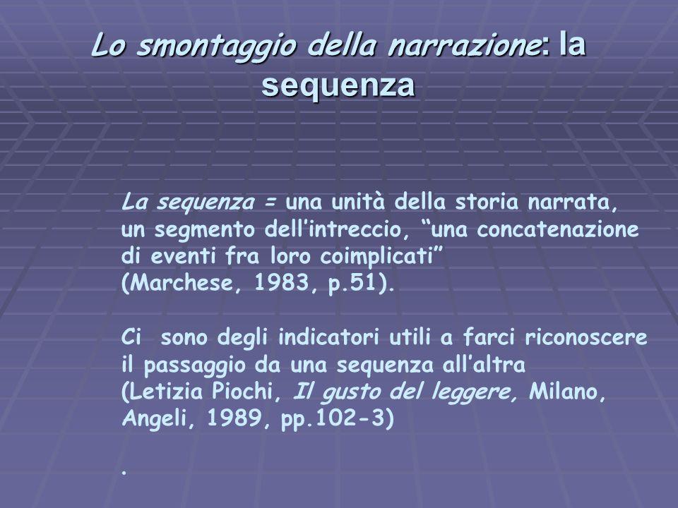 """Lo smontaggio della narrazione : la sequenza La sequenza = una unità della storia narrata, un segmento dell'intreccio, """"una concatenazione di eventi f"""