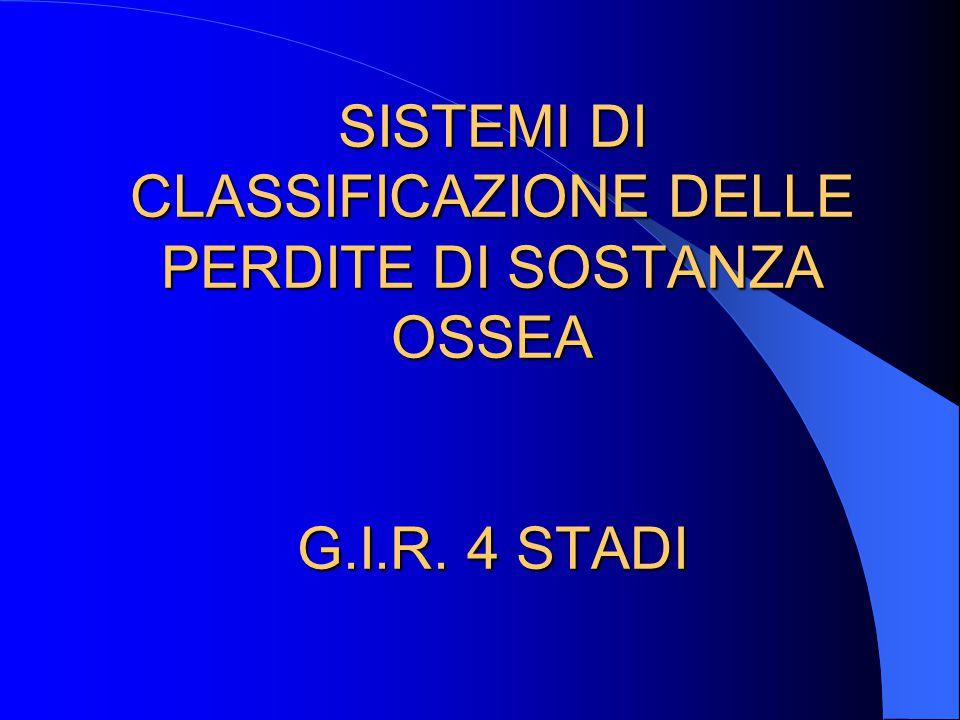 SISTEMI DI CLASSIFICAZIONE DELLE PERDITE DI SOSTANZA OSSEA G.I.R. 4 STADI