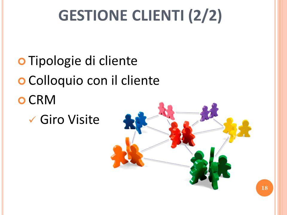 GESTIONE CLIENTI (2/2) Tipologie di cliente Colloquio con il cliente CRM Giro Visite 18