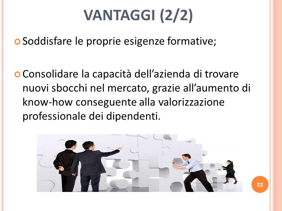 VANTAGGI (2/2) Soddisfare le proprie esigenze formative; Consolidare la capacità dell'azienda di trovare nuovi sbocchi nel mercato, grazie all'aumento di know-how conseguente alla valorizzazione professionale dei dipendenti.