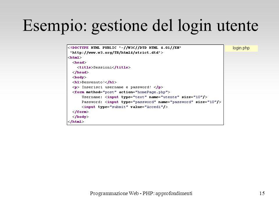 15 Esempio: gestione del login utente login.php Programmazione Web - PHP: approfondimenti