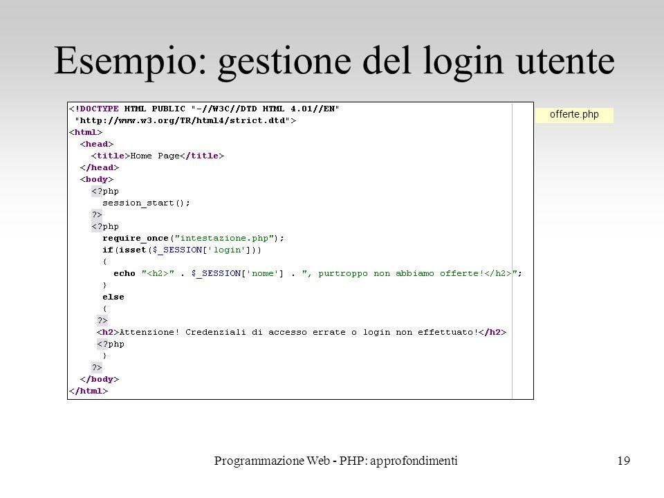19 Esempio: gestione del login utente offerte.php Programmazione Web - PHP: approfondimenti