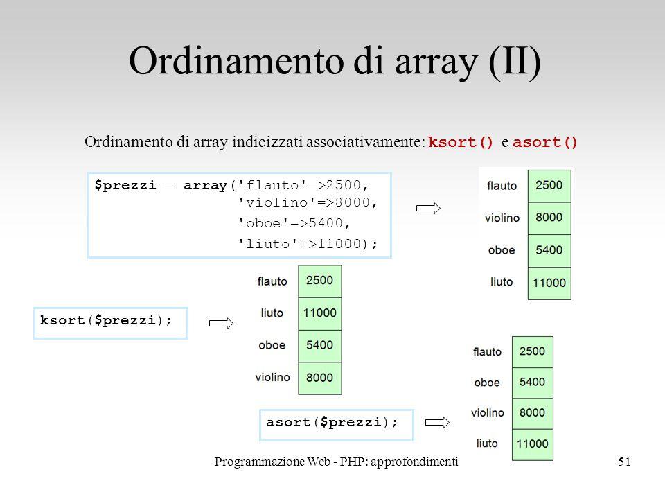 51 Ordinamento di array (II) Ordinamento di array indicizzati associativamente: ksort() e asort() $prezzi = array( flauto =>2500, violino =>8000, oboe =>5400, liuto =>11000); ksort($prezzi); asort($prezzi); Programmazione Web - PHP: approfondimenti