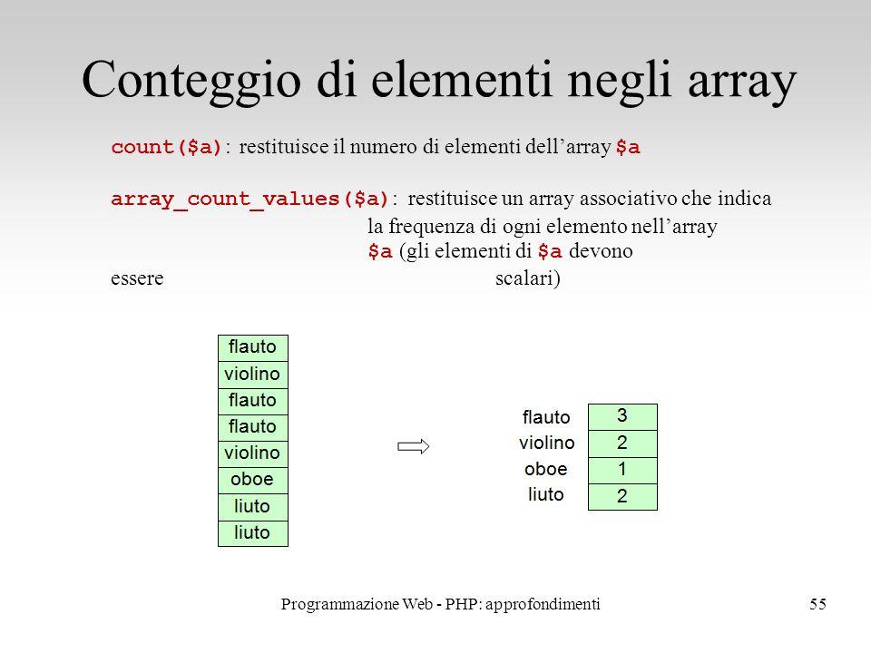 55 Conteggio di elementi negli array count($a) : restituisce il numero di elementi dell'array $a array_count_values($a) : restituisce un array associativo che indica la frequenza di ogni elemento nell'array $a (gli elementi di $a devono esserescalari) Programmazione Web - PHP: approfondimenti