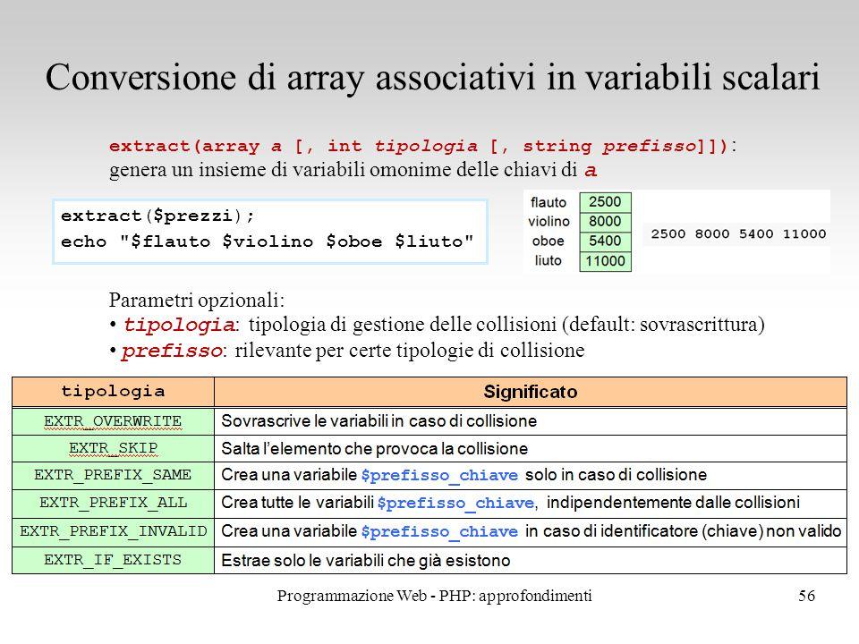 56 Conversione di array associativi in variabili scalari extract(array a [, int tipologia [, string prefisso]]) : genera un insieme di variabili omoni