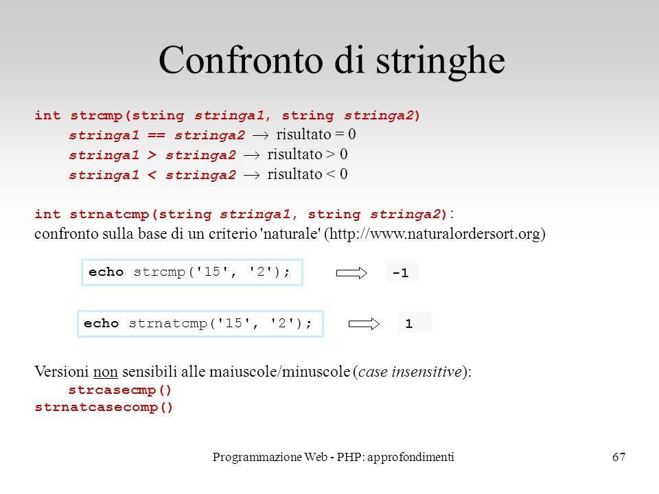 67 Confronto di stringhe int strcmp(string stringa1, string stringa2) stringa1 == stringa2  risultato = 0 stringa1 > stringa2  risultato > 0 stringa1 < stringa2  risultato < 0 int strnatcmp(string stringa1, string stringa2) : confronto sulla base di un criterio naturale (http://www.naturalordersort.org) Versioni non sensibili alle maiuscole/minuscole (case insensitive): strcasecmp() strnatcasecomp() echo strcmp( 15 , 2 ); echo strnatcmp( 15 , 2 ); 1 Programmazione Web - PHP: approfondimenti