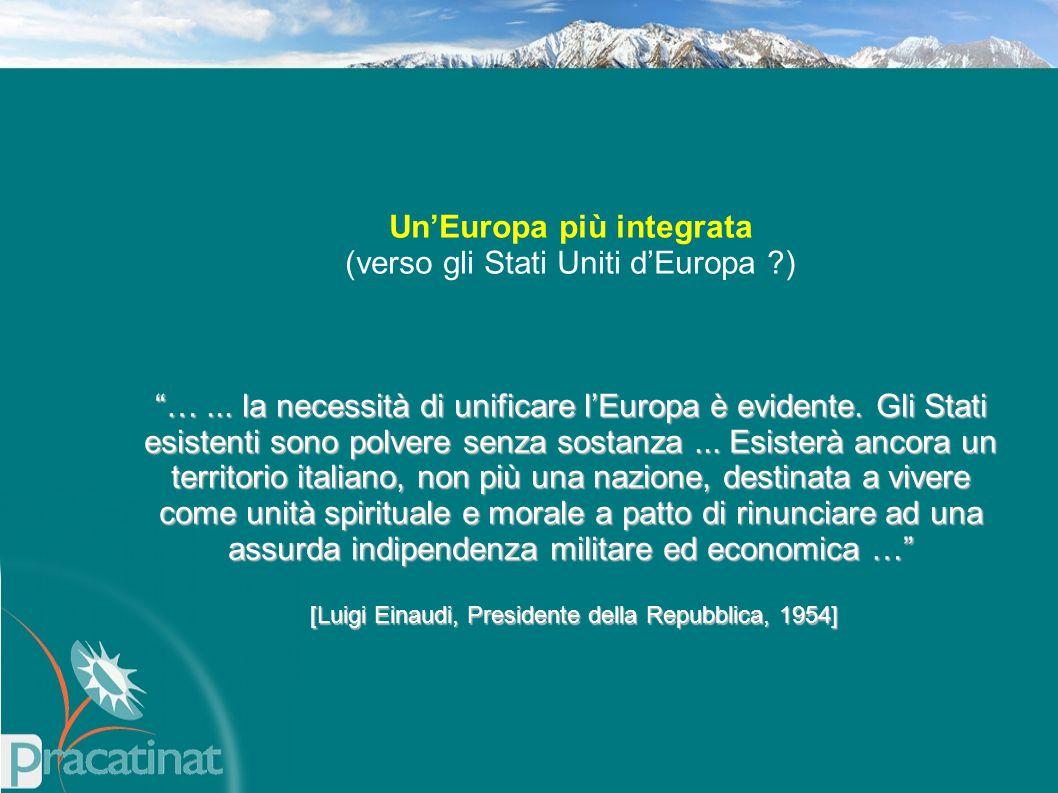 """Un'Europa più integrata (verso gli Stati Uniti d'Europa ?) """"…... la necessità di unificare l'Europa è evidente. Gli Stati esistenti sono polvere senza"""