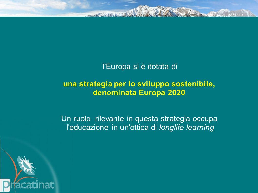 l Europa si è dotata di una strategia per lo sviluppo sostenibile, denominata Europa 2020 Un ruolo rilevante in questa strategia occupa l educazione in un ottica di longlife learning
