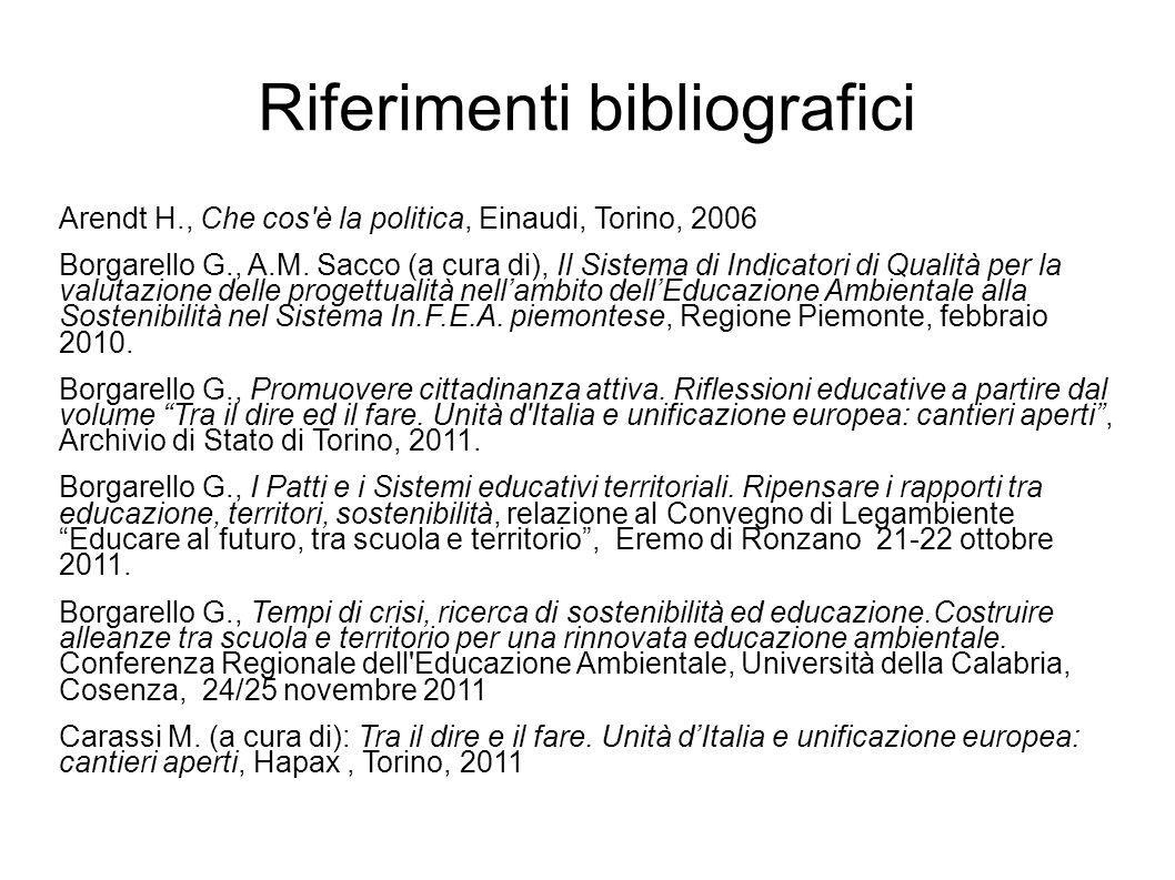 Riferimenti bibliografici Arendt H., Che cos è la politica, Einaudi, Torino, 2006 Borgarello G., A.M.
