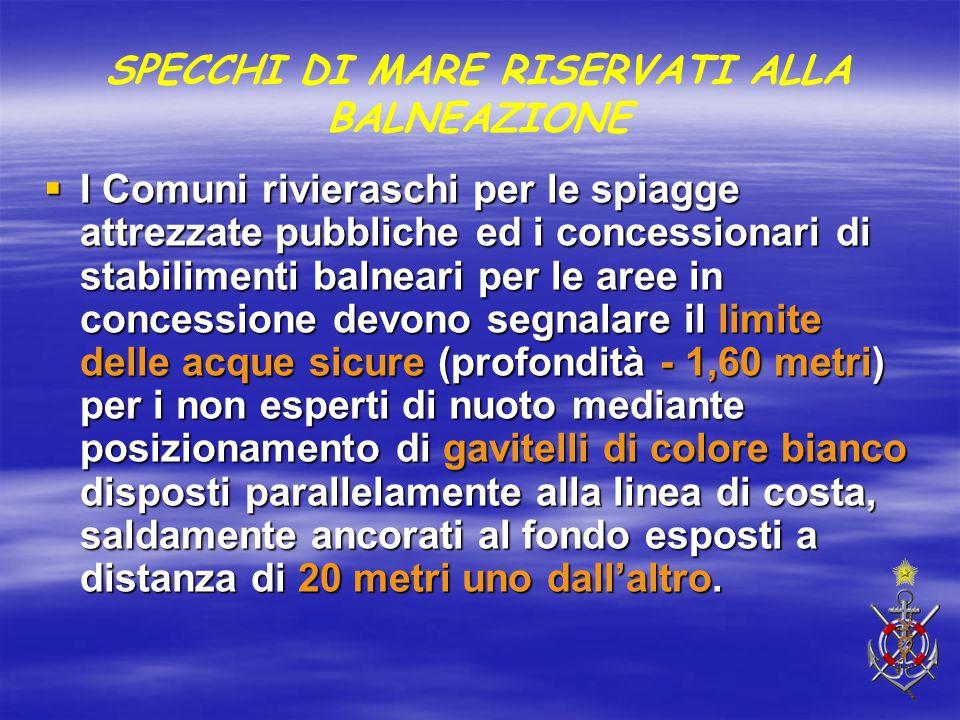  I Comuni rivieraschi per le spiagge attrezzate pubbliche ed i concessionari di stabilimenti balneari per le aree in concessione devono segnalare il