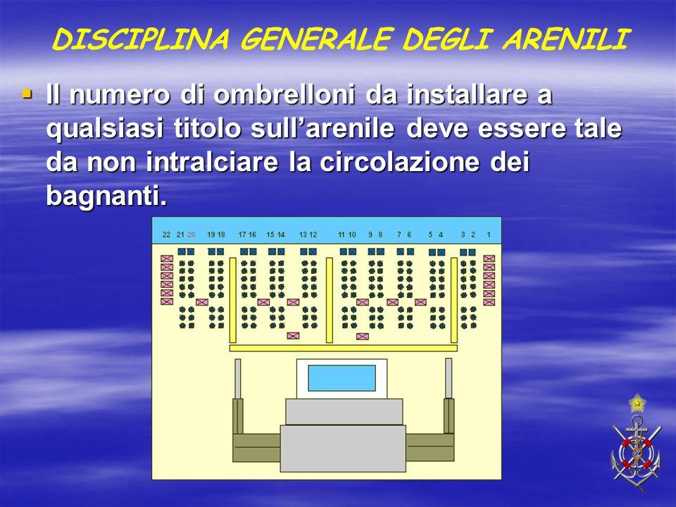  Il numero di ombrelloni da installare a qualsiasi titolo sull'arenile deve essere tale da non intralciare la circolazione dei bagnanti. DISCIPLINA G