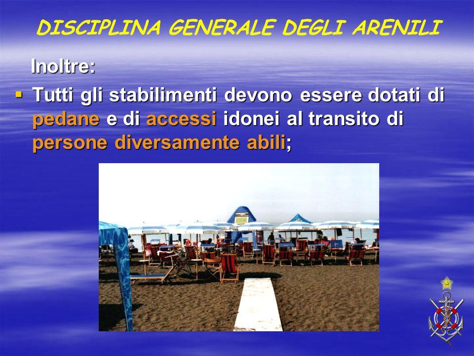 Inoltre: Inoltre:  Tutti gli stabilimenti devono essere dotati di pedane e di accessi idonei al transito di persone diversamente abili; DISCIPLINA GE