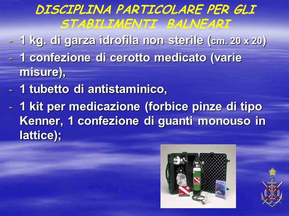 - 1 kg. di garza idrofila non sterile ( cm. 20 x 20 ) - 1 confezione di cerotto medicato (varie misure), - 1 tubetto di antistaminico, - 1 kit per med
