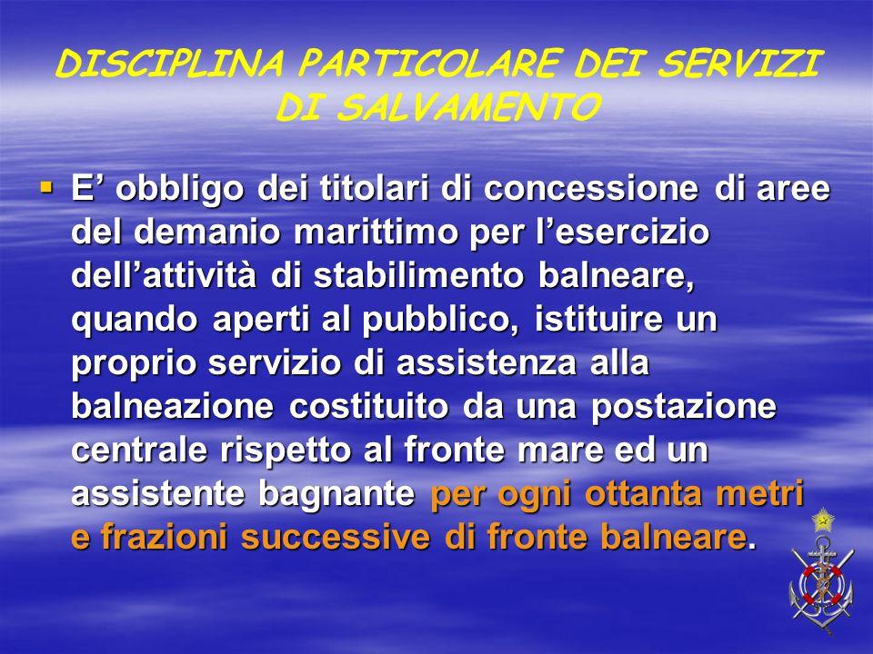 DISCIPLINA PARTICOLARE DEI SERVIZI DI SALVAMENTO  E' obbligo dei titolari di concessione di aree del demanio marittimo per l'esercizio dell'attività