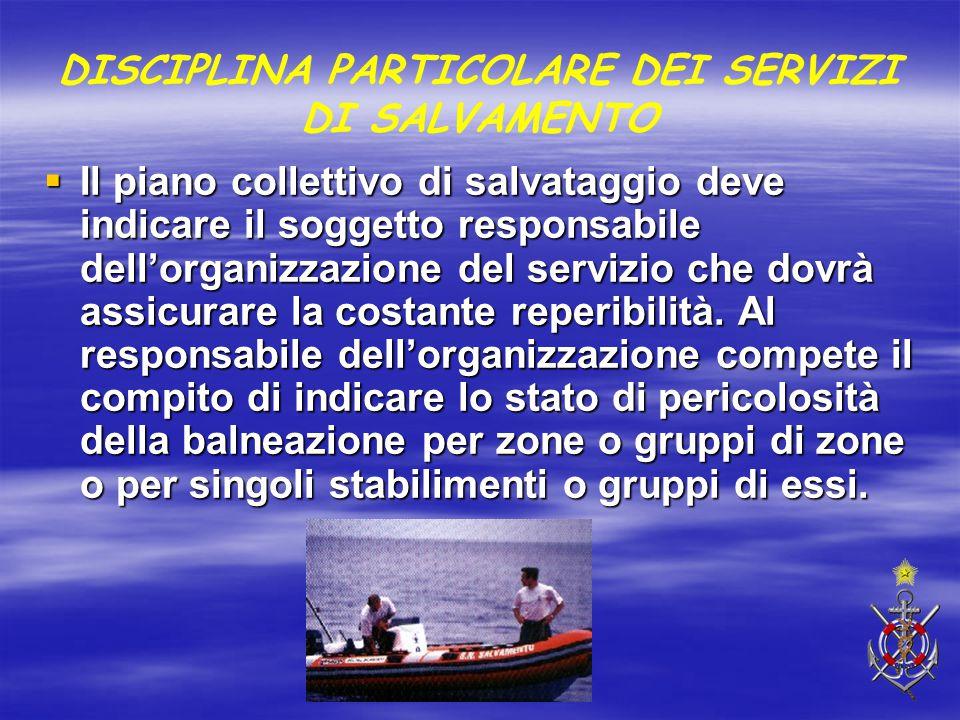 DISCIPLINA PARTICOLARE DEI SERVIZI DI SALVAMENTO  Il piano collettivo di salvataggio deve indicare il soggetto responsabile dell'organizzazione del s