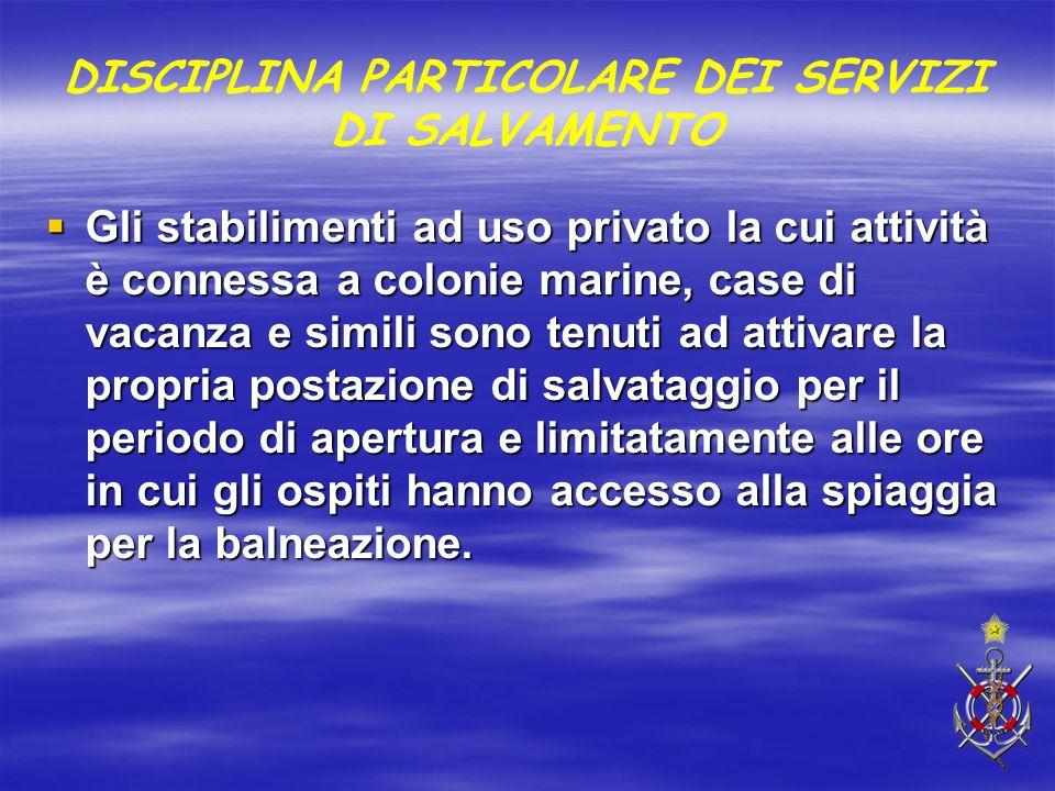 DISCIPLINA PARTICOLARE DEI SERVIZI DI SALVAMENTO  Gli stabilimenti ad uso privato la cui attività è connessa a colonie marine, case di vacanza e simi