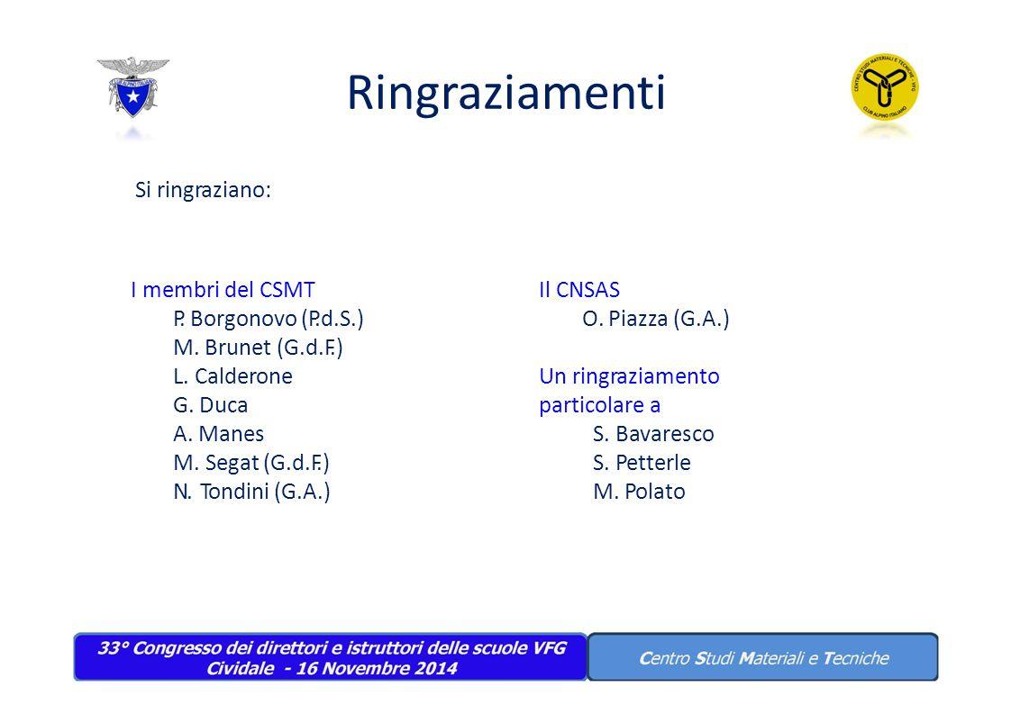 Ringraziamenti Si ringraziano: I membri del CSMT P. Borgonovo (P.d.S.) M. Brunet (G.d.F.) L. Calderone G. Duca A. Manes M.Segat (G.d.F.) N.Tondini (G.