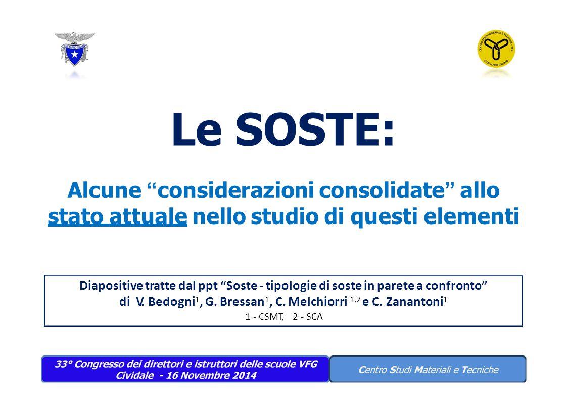 """Le SOSTE: Alcune """" considerazioni consolidate """" allo stato attuale nello studio di questi elementi Diapositive tratte dal ppt """"Soste - tipologie di so"""