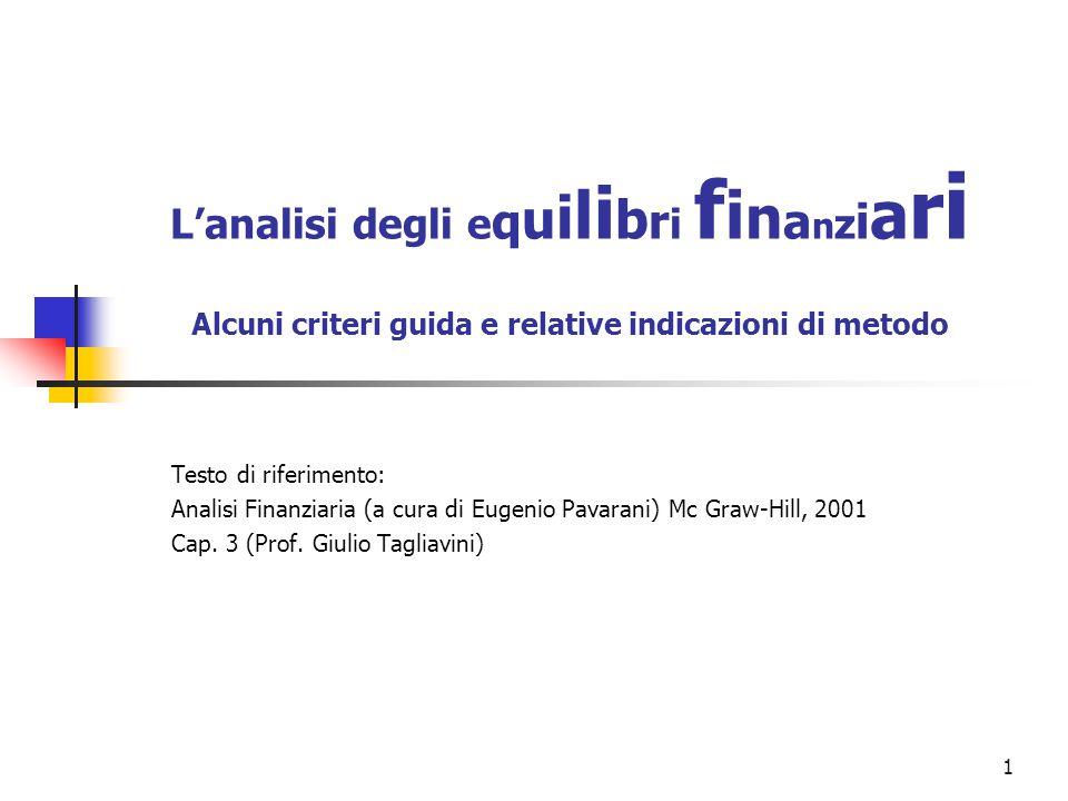 1 L'analisi degli e q u i l i b r i f i n a n z i a r i Alcuni criteri guida e relative indicazioni di metodo Testo di riferimento: Analisi Finanziaria (a cura di Eugenio Pavarani) Mc Graw-Hill, 2001 Cap.