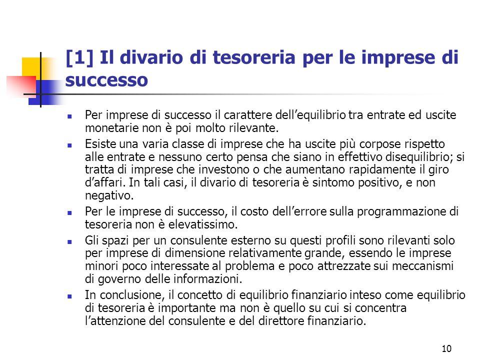 10 [1] Il divario di tesoreria per le imprese di successo Per imprese di successo il carattere dell'equilibrio tra entrate ed uscite monetarie non è poi molto rilevante.