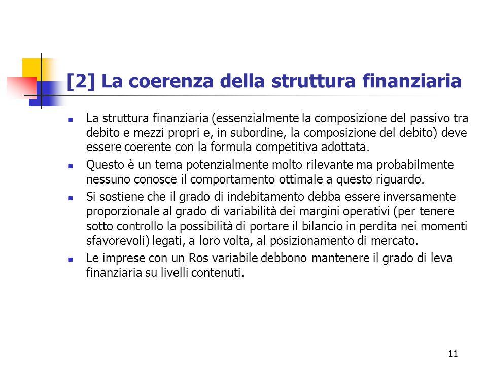 11 [2] La coerenza della struttura finanziaria La struttura finanziaria (essenzialmente la composizione del passivo tra debito e mezzi propri e, in subordine, la composizione del debito) deve essere coerente con la formula competitiva adottata.