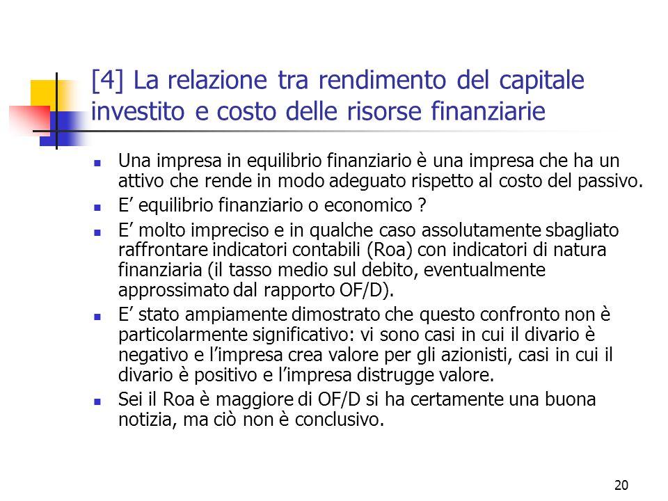 20 [4] La relazione tra rendimento del capitale investito e costo delle risorse finanziarie Una impresa in equilibrio finanziario è una impresa che ha un attivo che rende in modo adeguato rispetto al costo del passivo.