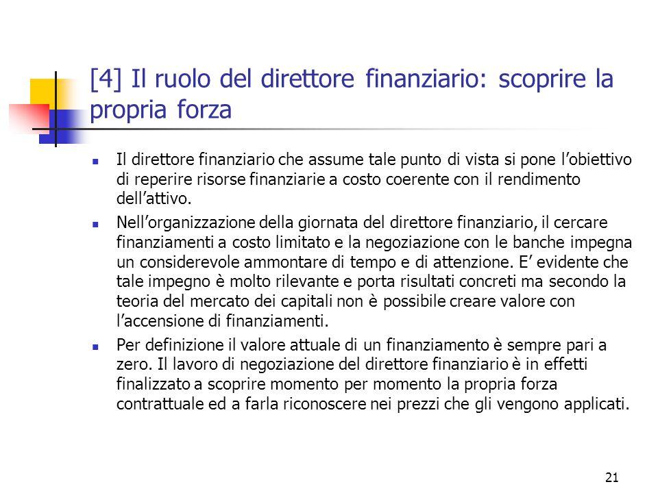 21 [4] Il ruolo del direttore finanziario: scoprire la propria forza Il direttore finanziario che assume tale punto di vista si pone l'obiettivo di reperire risorse finanziarie a costo coerente con il rendimento dell'attivo.