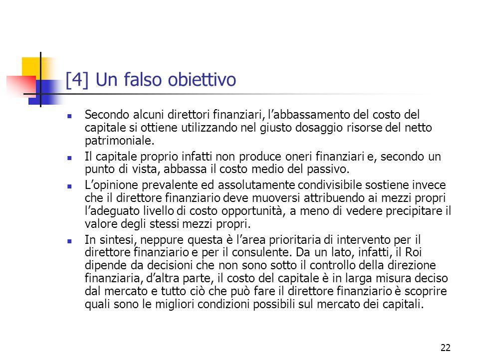 22 [4] Un falso obiettivo Secondo alcuni direttori finanziari, l'abbassamento del costo del capitale si ottiene utilizzando nel giusto dosaggio risorse del netto patrimoniale.