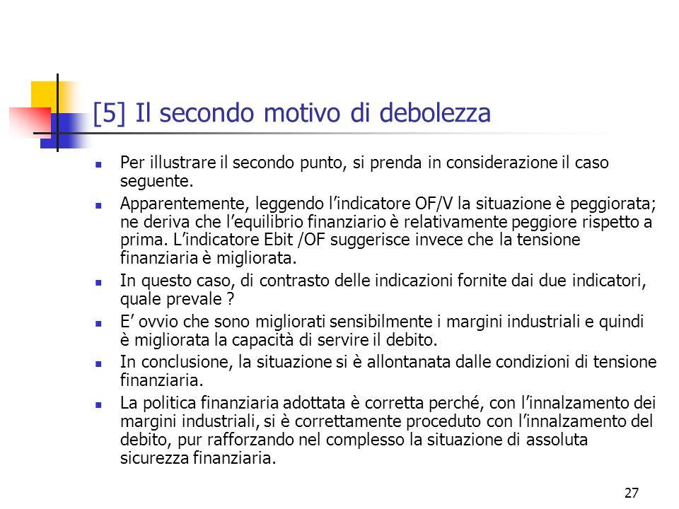 27 [5] Il secondo motivo di debolezza Per illustrare il secondo punto, si prenda in considerazione il caso seguente.