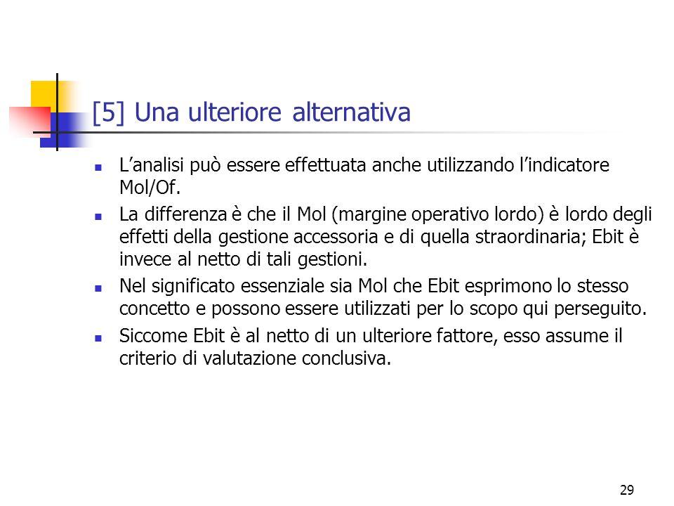 29 [5] Una ulteriore alternativa L'analisi può essere effettuata anche utilizzando l'indicatore Mol/Of.