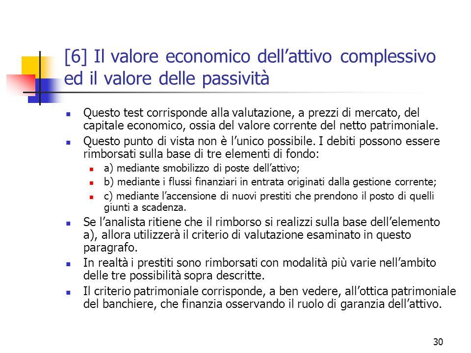 30 [6] Il valore economico dell'attivo complessivo ed il valore delle passività Questo test corrisponde alla valutazione, a prezzi di mercato, del capitale economico, ossia del valore corrente del netto patrimoniale.