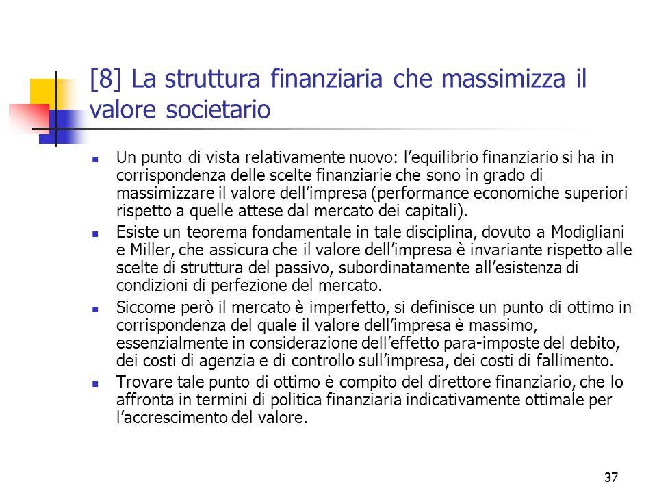 37 [8] La struttura finanziaria che massimizza il valore societario Un punto di vista relativamente nuovo: l'equilibrio finanziario si ha in corrispondenza delle scelte finanziarie che sono in grado di massimizzare il valore dell'impresa (performance economiche superiori rispetto a quelle attese dal mercato dei capitali).