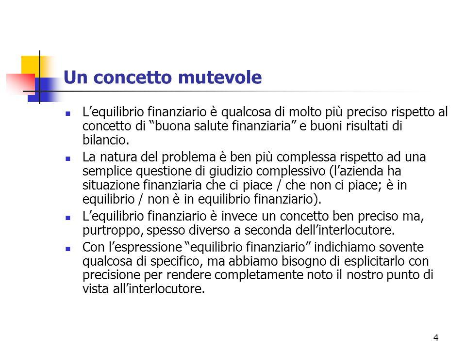 4 Un concetto mutevole L'equilibrio finanziario è qualcosa di molto più preciso rispetto al concetto di buona salute finanziaria e buoni risultati di bilancio.