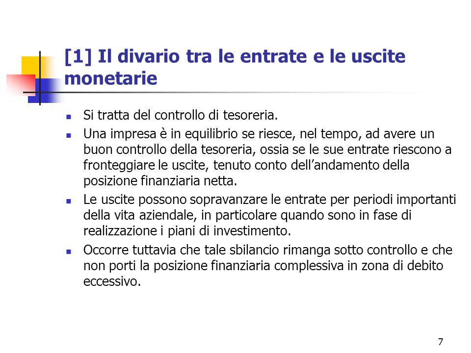 7 [1] Il divario tra le entrate e le uscite monetarie Si tratta del controllo di tesoreria.
