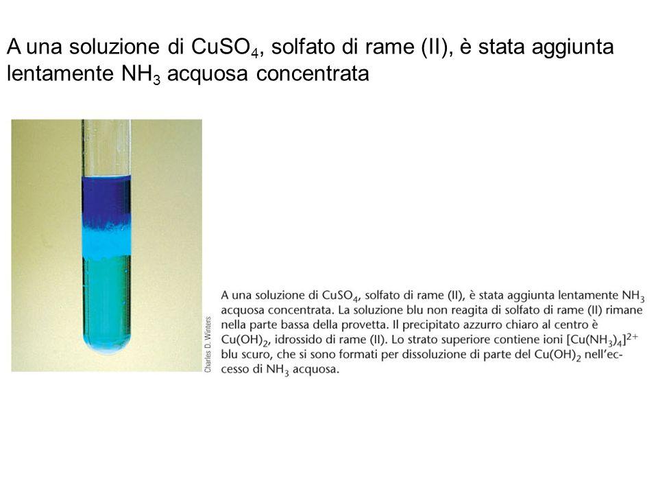 A una soluzione di CuSO 4, solfato di rame (II), è stata aggiunta lentamente NH 3 acquosa concentrata. A una soluzione di CuSO 4, solfato di rame (II)
