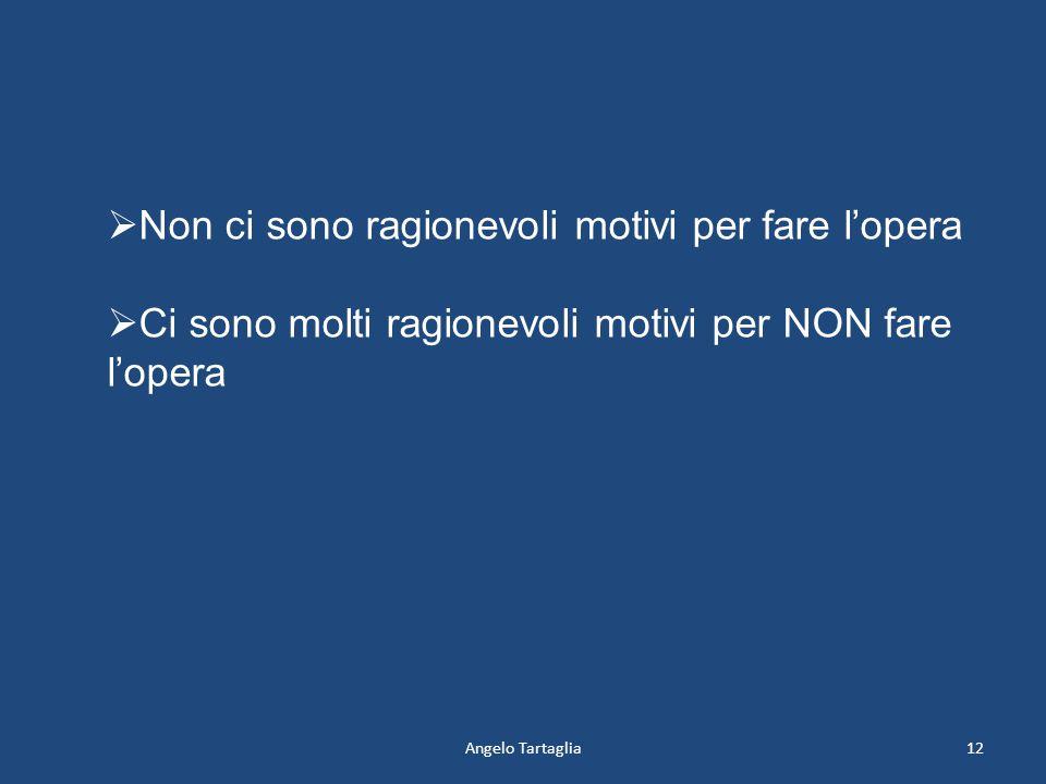 Angelo Tartaglia12  Non ci sono ragionevoli motivi per fare l'opera  Ci sono molti ragionevoli motivi per NON fare l'opera