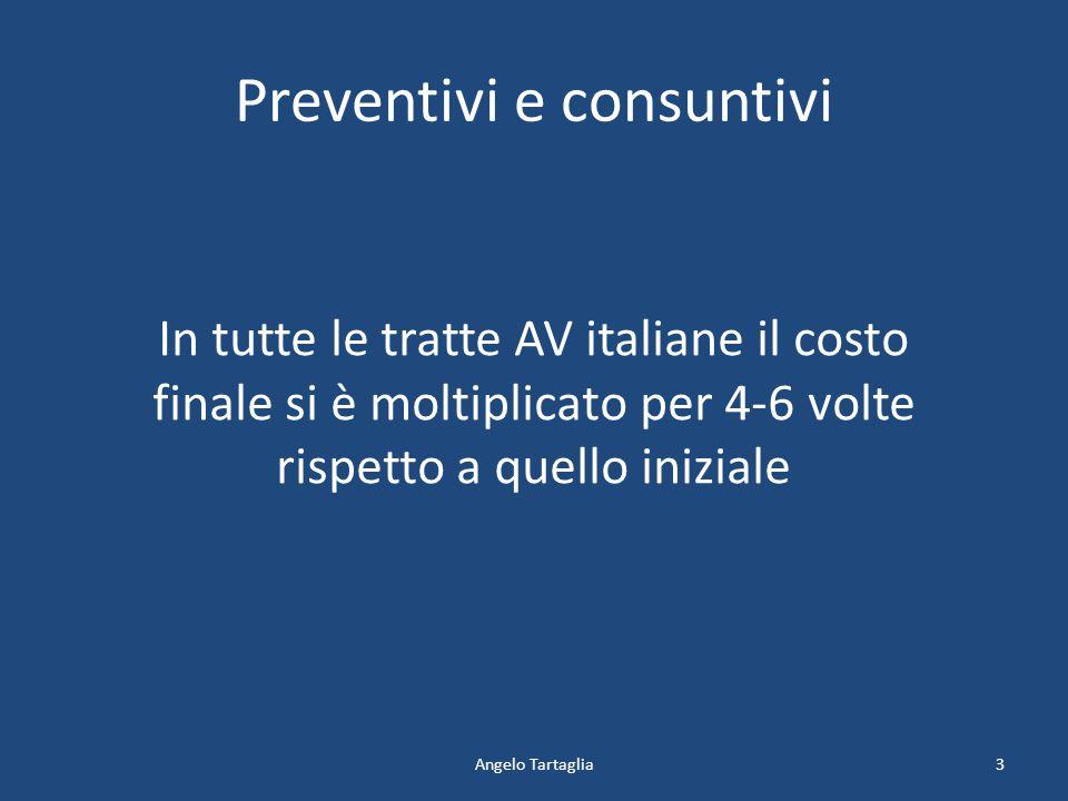 Preventivi e consuntivi Angelo Tartaglia In tutte le tratte AV italiane il costo finale si è moltiplicato per 4-6 volte rispetto a quello iniziale 3
