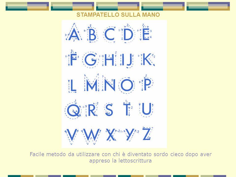 STAMPATELLO SULLA MANO Facile metodo da utilizzare con chi è diventato sordo cieco dopo aver appreso la lettoscrittura