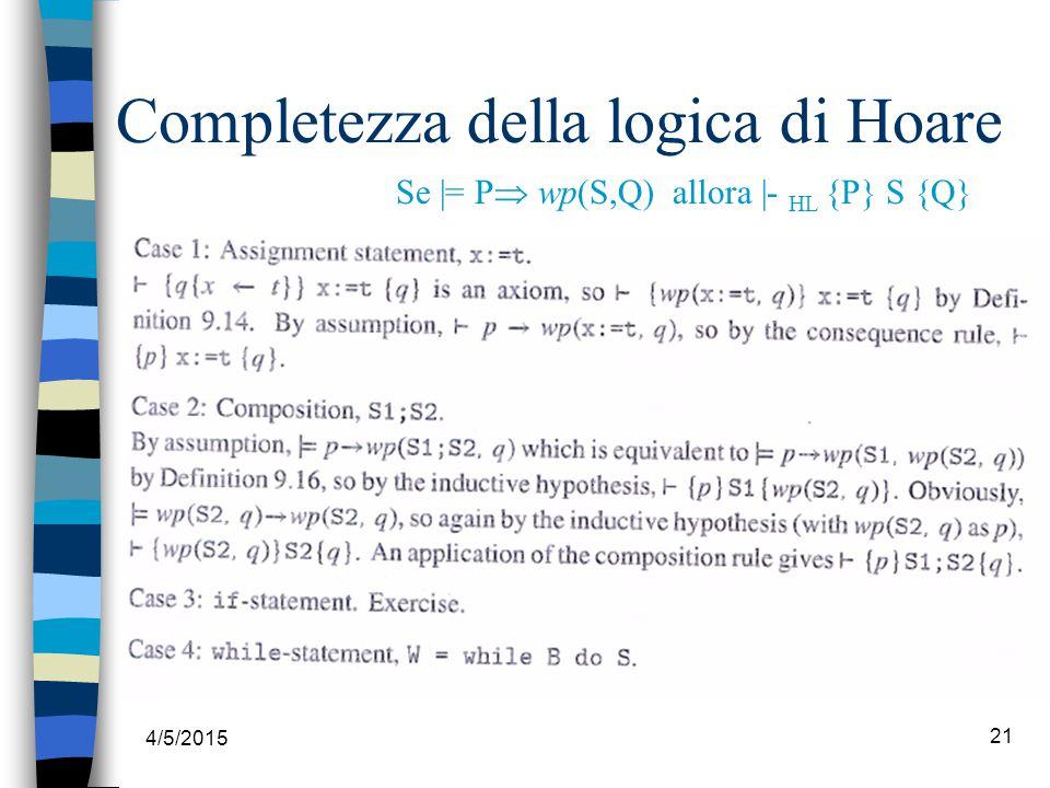 4/5/2015 21 Completezza della logica di Hoare Se |= P  wp(S,Q) allora |- HL {P} S {Q}