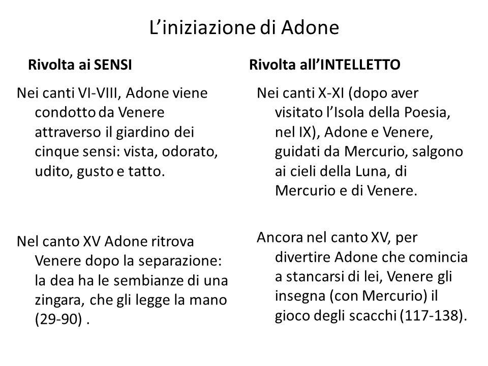 L'iniziazione di Adone Rivolta ai SENSI Nei canti VI-VIII, Adone viene condotto da Venere attraverso il giardino dei cinque sensi: vista, odorato, udi