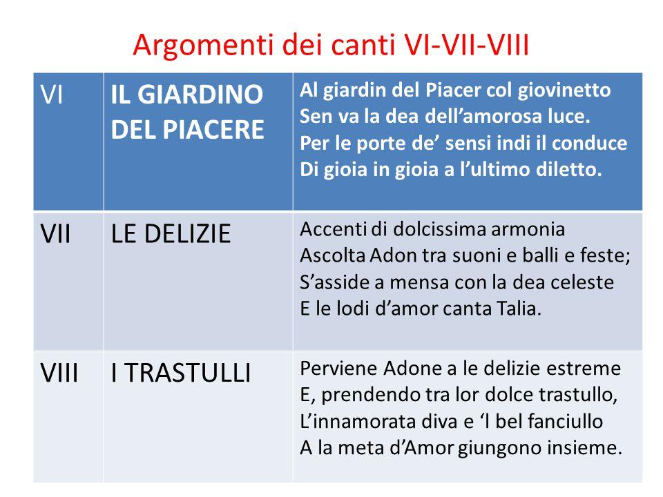 Argomenti dei canti VI-VII-VIII VIIL GIARDINO DEL PIACERE Al giardin del Piacer col giovinetto Sen va la dea dell'amorosa luce. Per le porte de' sensi