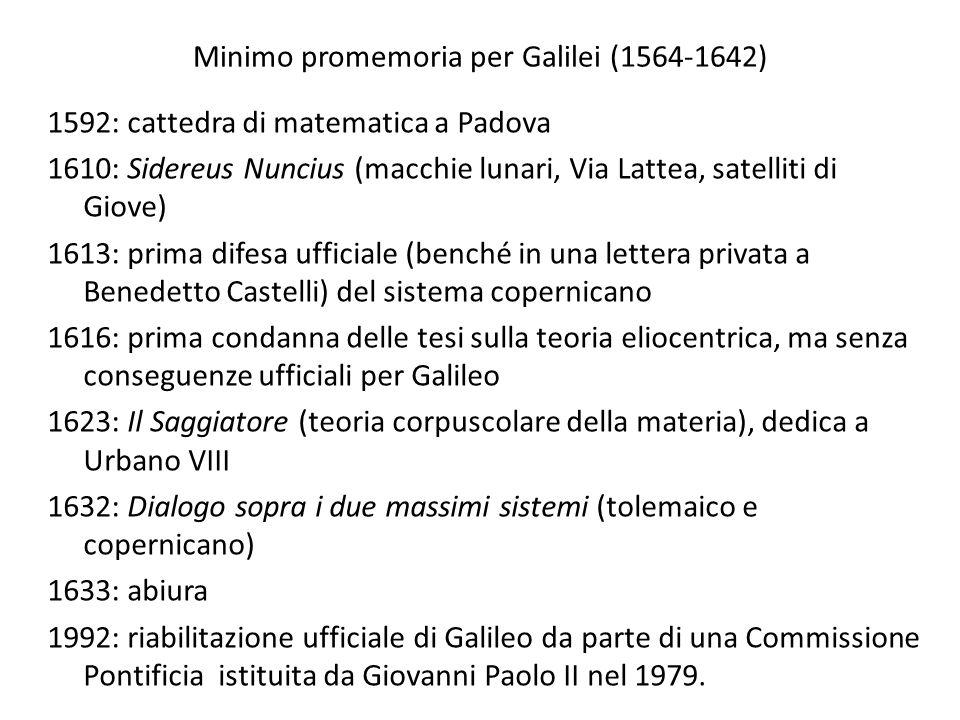 Minimo promemoria per Galilei (1564-1642) 1592: cattedra di matematica a Padova 1610: Sidereus Nuncius (macchie lunari, Via Lattea, satelliti di Giove