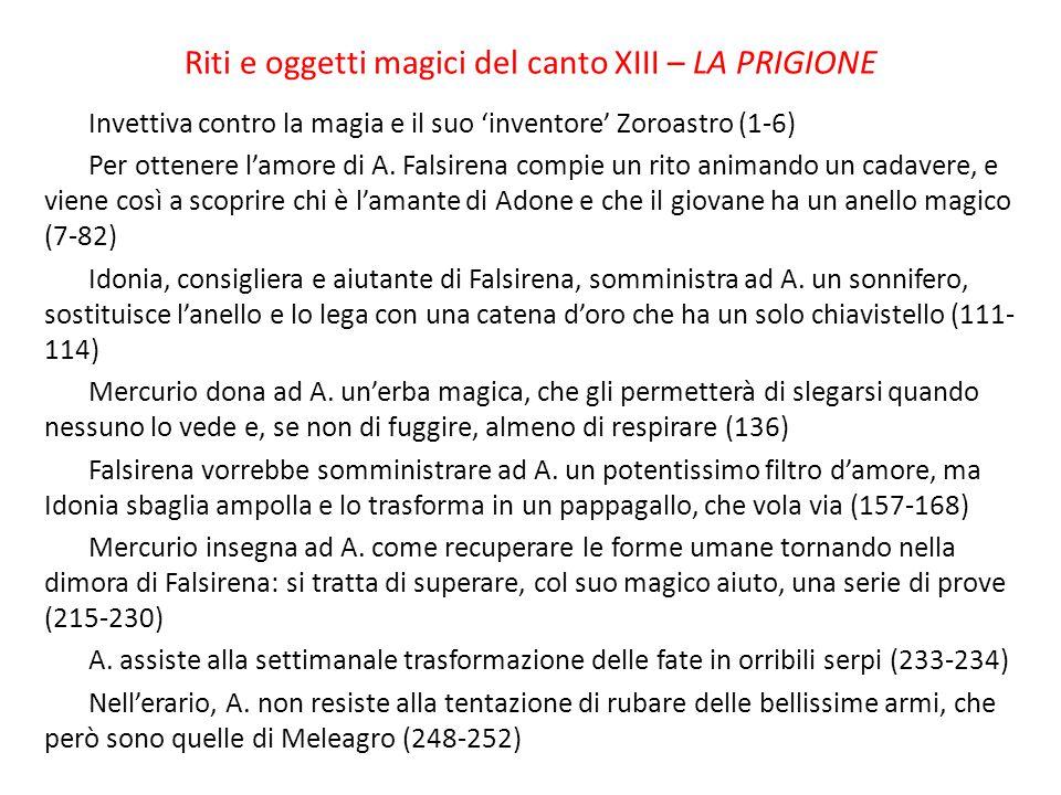 Riti e oggetti magici del canto XIII – LA PRIGIONE Invettiva contro la magia e il suo 'inventore' Zoroastro (1-6) Per ottenere l'amore di A. Falsirena
